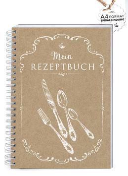 """NEU: DIN A4 KREATIV DIY KOCHBUCH """"Mein Rezeptbuch"""" BESTECK KRAFTPAPIER (Spiralgebunden)"""