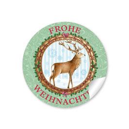 """""""Frohe Weihnachten"""" -  Hirsch - grün"""