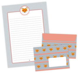 Briefpapier-Set FUCHS • 22 Blatt Briefpapiere A4 + 11 Briefumschläge C6