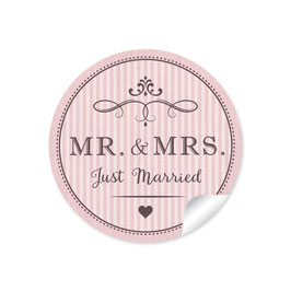 """MR. and MRS.  - Just married"" - Vintage Retro - rosa"