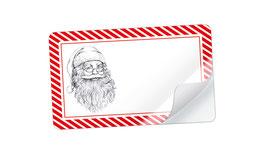21 Sticker rechteckig klein -Weihnachtsmann rot weiß - mit Freitextfeld