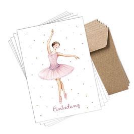 6er POSTKARTEN SET: Ballerina EINLADUNG + 6 braune Kraftpapier Umschläge