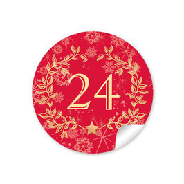 Adventskalenderzahlen - Kranz - rot