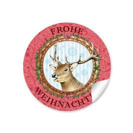 """""""Frohe Weihnachten"""" -  Hirsch - rot"""