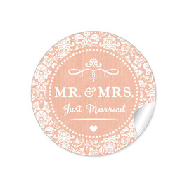 """MR. and MRS.  - Just married"" - Ornamente - apricot"