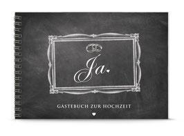 """DIN A5 GÄSTEBUCH ZUR HOCHZEIT """"JA"""" zum Selbstbeschreiben schwarz Kreidetafel (Spiralgebunden)"""