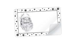 21 Sticker rechteckig klein -Weihnachtsmann Snow schwarz weiß - mit Freitextfeld