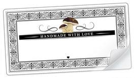 """10 Sticker rechteckig groß -""""Handmade with Love""""- Steinpilz Ornamente - mit Freitextfeld"""