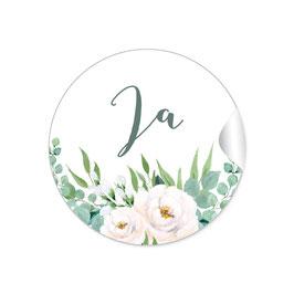 """""""Ja"""" - Vintage Retro - Rosen weiß grün"""