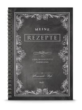 "DIN A5 KREATIV DIY KOCHBUCH ""Mein Rezepte"" zum Selbstbeschreiben schwarz Kreidetafel Ornamente (Spiralgebunden)"