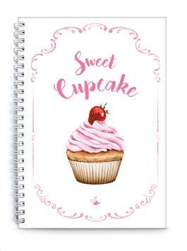 """DIN A5 KREATIV DIY BACKBUCH """"Sweet Cupcake"""" zum Selbstbeschreiben weiß (Spiralgebunden)"""