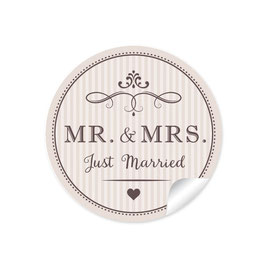 """MR. and MRS.  - Just married"" - Vintage Retro - beige"