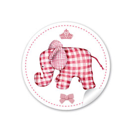 24 STICKER: Elefant mit Krone - rosa