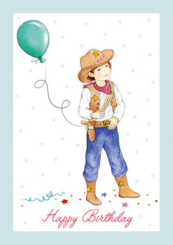 """Happy Birthday"" - Kostüm Cowboy - Blau"