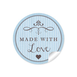 """Made with Love""- Vintage Retro Style - hellblau"