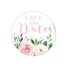 """Save the Date"" - Eukalyptus Rosen rosa weiß"
