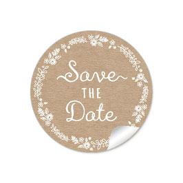 """""""Save the Date"""" - Kraftpapier Look Kranz weiß"""