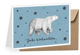 """Eisbär blau - """"FROHE WEIHNACHTEN"""""""