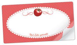 """10 Sticker rechteckig groß -""""Mit Liebe gemacht""""- Tomate rot - mit Freitextfeld"""