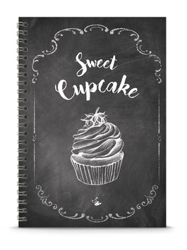 "NEU ! DIN A5 KREATIV DIY BACKBUCH ""Sweet Cupcake"" Cupcake Zeichnung zum Selbstbeschreiben schwarz Kreidetafel Look (Spiralgebunden)"