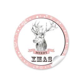 """""""Merry XMAS""""- Weihnachtshirsch - rosa"""