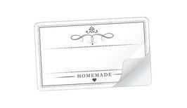 """21 Sticker rechteckig klein -""""Homemade"""" - weiß - mit Freitextfeld"""