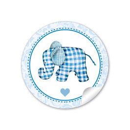 Elefant  karriert - blau
