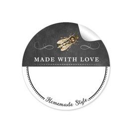 MADE WITH LOVE- HOMEMADE STYLE BIENE - Kreidetafel schwarz weiß - mit Freitextfeld BREIT