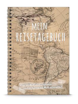 """NEU: DIN A5 KREATIV DIY TAGEBUCH """"MEIN REISETAGEBUCH"""" zum Selbstbeschreiben - hellbraun- (Spiralgebunden)"""