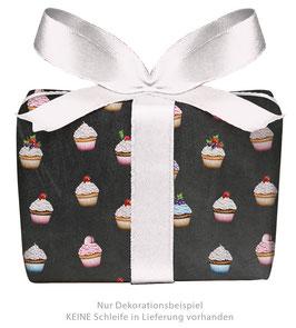 3 Bögen Geschenkpapier - Cupcake Kreidetafel Look - gedruckt auf PEFC zertifiziertem Papier, 50 x 70 cm