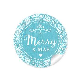 """Merry X mas"" -  Vintage Ornamente - türkis"