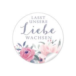 """Lasst unsere Liebe wachsen"" - Pastell Rosen Blüten Blätter rot rosa weiß blau grau"