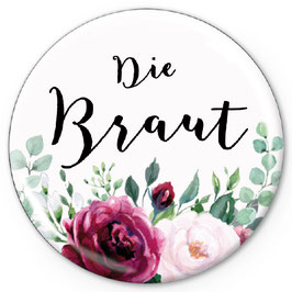 """NEU: BUTTON MATT • """"Die Braut"""" Boho Rosen ROT ROSA"""