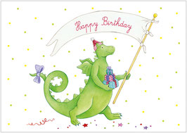 """Happy Birthday"" - Drache - Bunt"