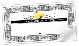 """10 Sticker rechteckig groß -""""Handmade with Love""""- Zitrone Ornamente - mit Freitextfeld"""