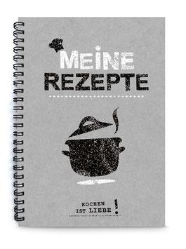 """DIN A5 KREATIV DIY KOCHBUCH """"Meine Rezepte"""" zum Selbstbeschreiben Kochtop grau weiß (Spiralgebunden)"""