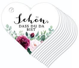 12 HERZ ANHÄNGER • Schön, dass du da bist •  Boho Rosen rosa rot grün