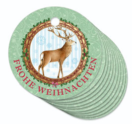 12 ANHÄNGER • Frohe Weihnachten • Hirsch Nostalgie grün