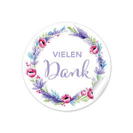 """Vielen Dank"" - Lavendel Mohnblume - rot lila"