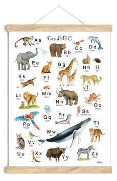 ABC Poster Lernposter Tiere Alphabet Kinderzimmer Weihnachtsdeko Baby Bilder 50 x 70 cm Tierposter Zoo Wald Safari Afrika Tiere Für Kindergarten, zum Schulanfang & 1. Klasse