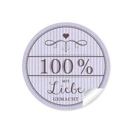 """""""100% mit Liebe gemacht""""- Vintage Retro Style - lila"""