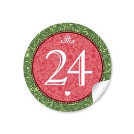Adventskalenderzahlen - Ornamente - rot grün