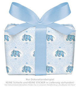 3 Bögen Geschenkpapier groß - ELEFANT ORNAMENTE - BLAU
