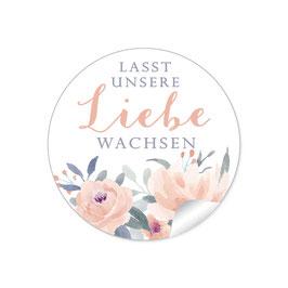 """Lasst unsere Liebe wachsen"" - Pastell Rosen Blüten Blätter Apricot weiß blau grau"