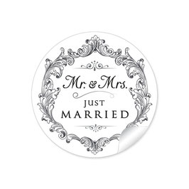 """MR. and MRS.  - Just married"" - Vintage Ornamente- schwarz"