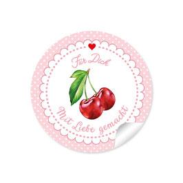 """""""Für Dich - Mit Liebe gemacht""""- Kirschen - Punkte rosa"""