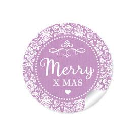 """Merry X mas"" -  Vintage Ornamente - lila"