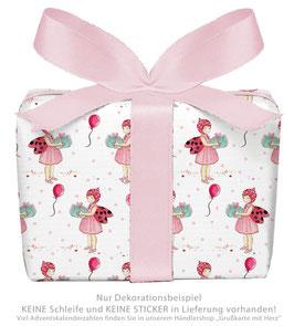 3 Bögen Geschenkpapier groß - GLÜCKSKÄFER- ROSA WEIß