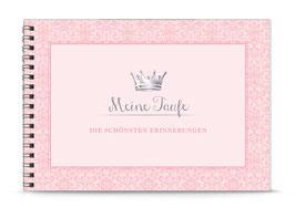 """DIN A5 KREATIV DIY ALBUM """"Meine Taufe - DIE SCHÖNSTEN ERINNERUNGEN"""" mit Krone rosa (Spiralgebunden)"""