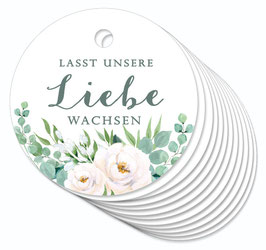 12 ANHÄNGER • Lasst unsere Liebe wachsen• Boho Rosen grün weiß